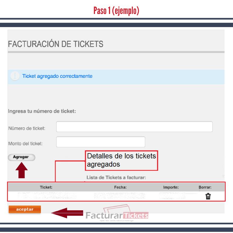 Paso 1 Ingresar Ticket y RFC