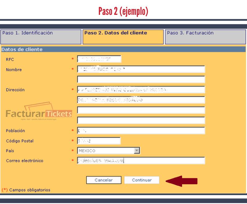 Paso 2 Ingresar datos del cliente