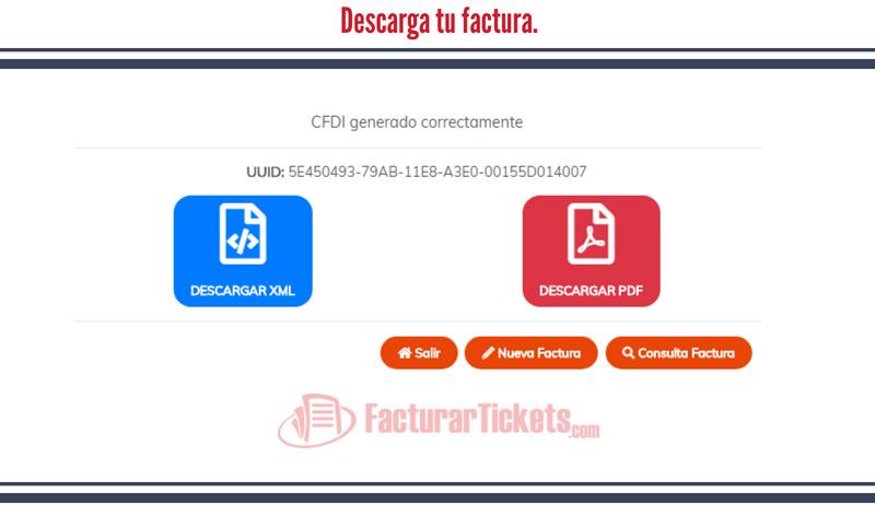 Botones para descargar factura XML PDF