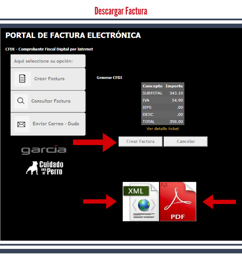 Botones para descargar CFDI