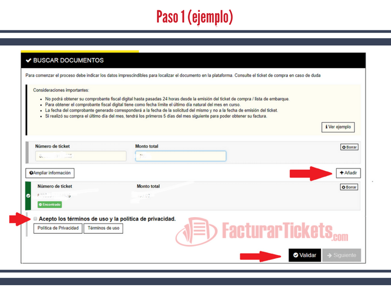 Paso 1 ingresar datos del ticket
