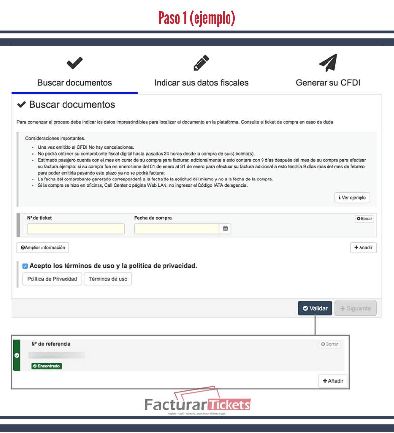 Paso 1 Ingresar los datos de tu vuelo.
