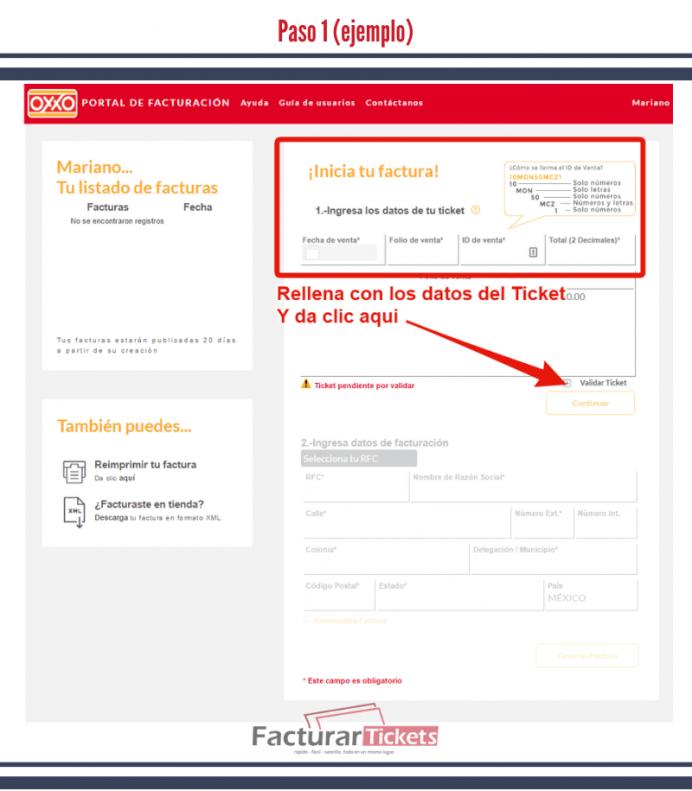 Paso 1 Ingresar datos del tickets y validar.