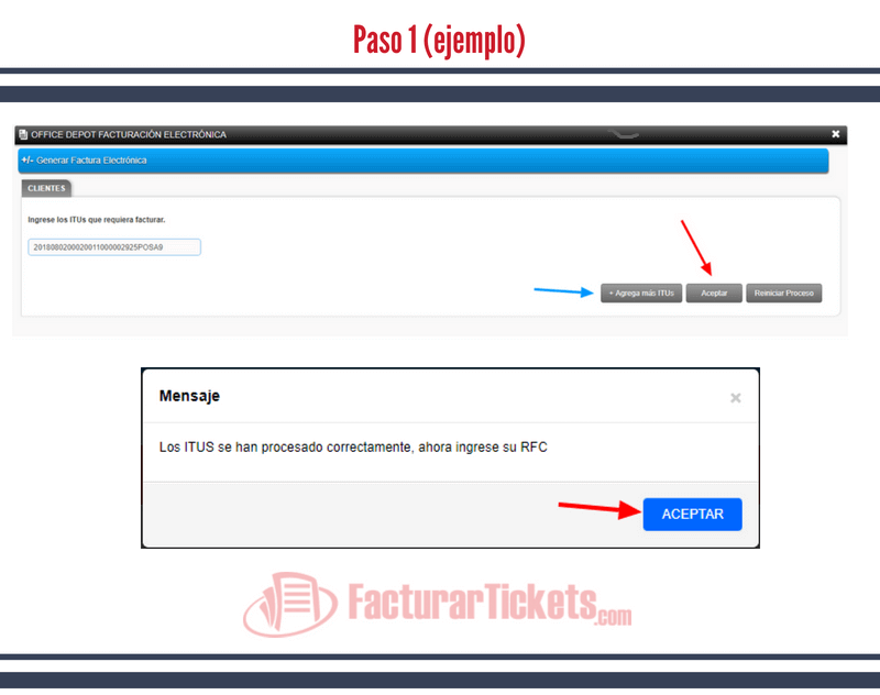 Paso 1 Ingresar código ITU.