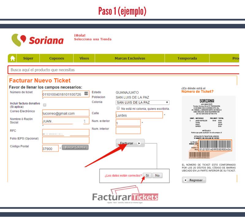 Paso 1 Ingresar información fiscal y datos de ticket.