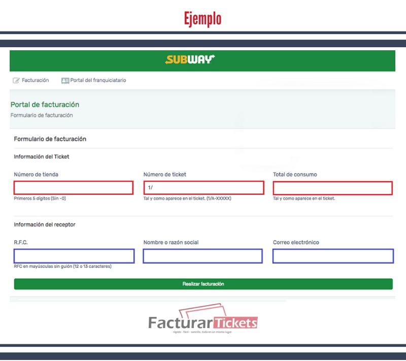 Ejemplo: ingresar datos de ticket e información fiscal.