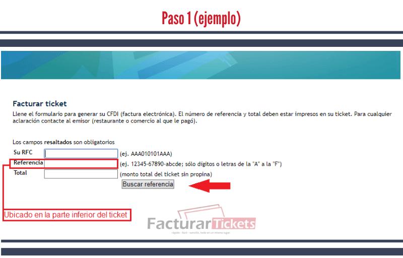 Paso 1 Ingresar RFC y datos del ticket.