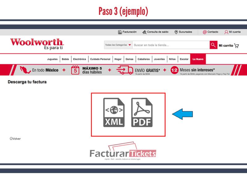 Paso 3 Descargar factura en PDF y XML.