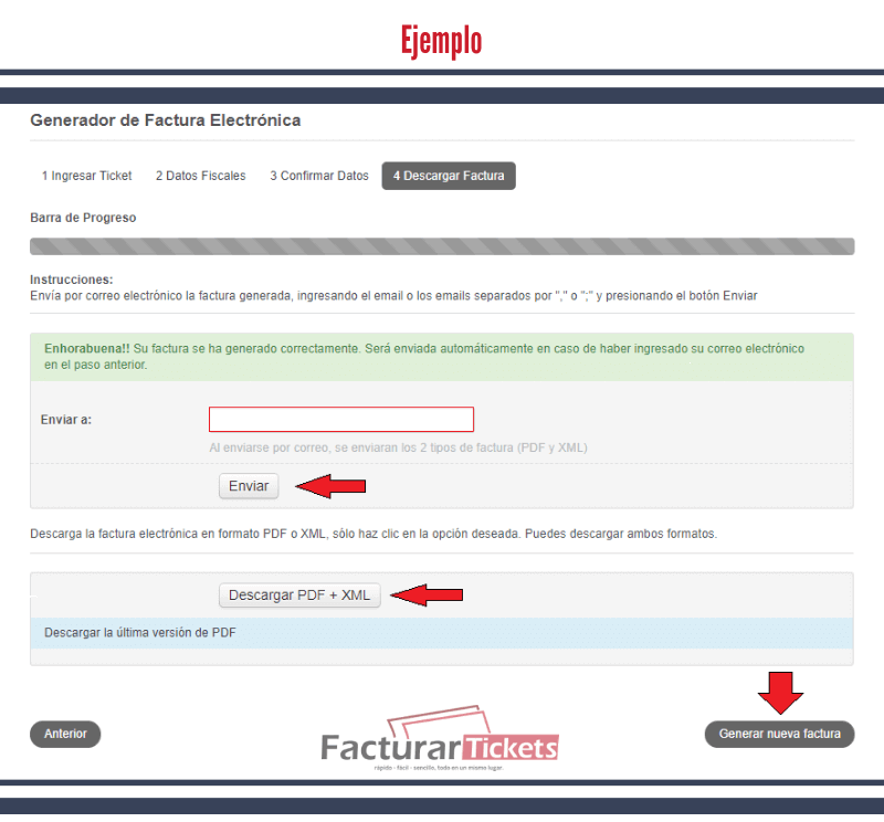 Ejemplo: descarga de facturas.