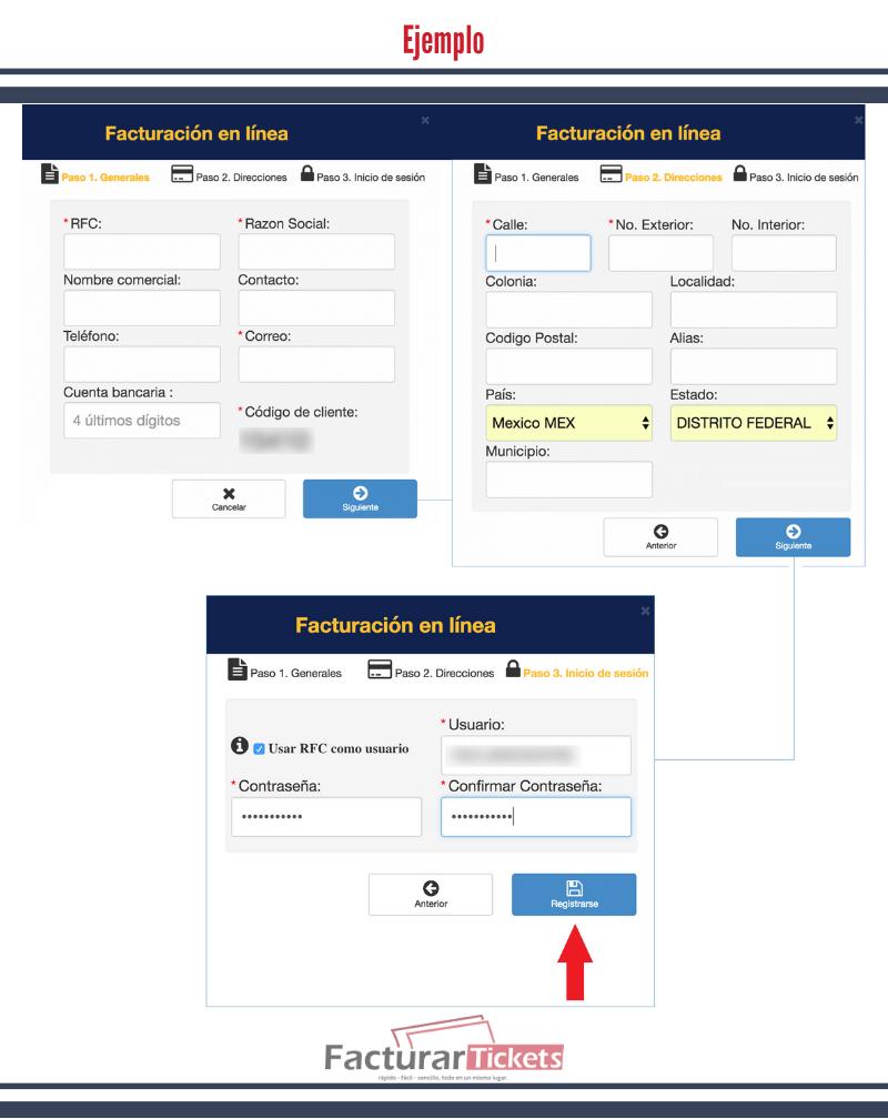Ejemplo: Registrar cuenta.
