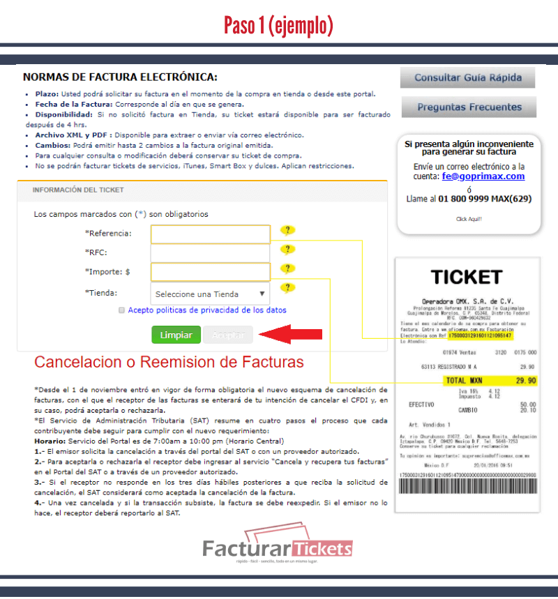 Paso 1 Capturar datos del ticket.