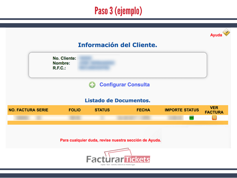 Paso 3 Verificar datos de factura.