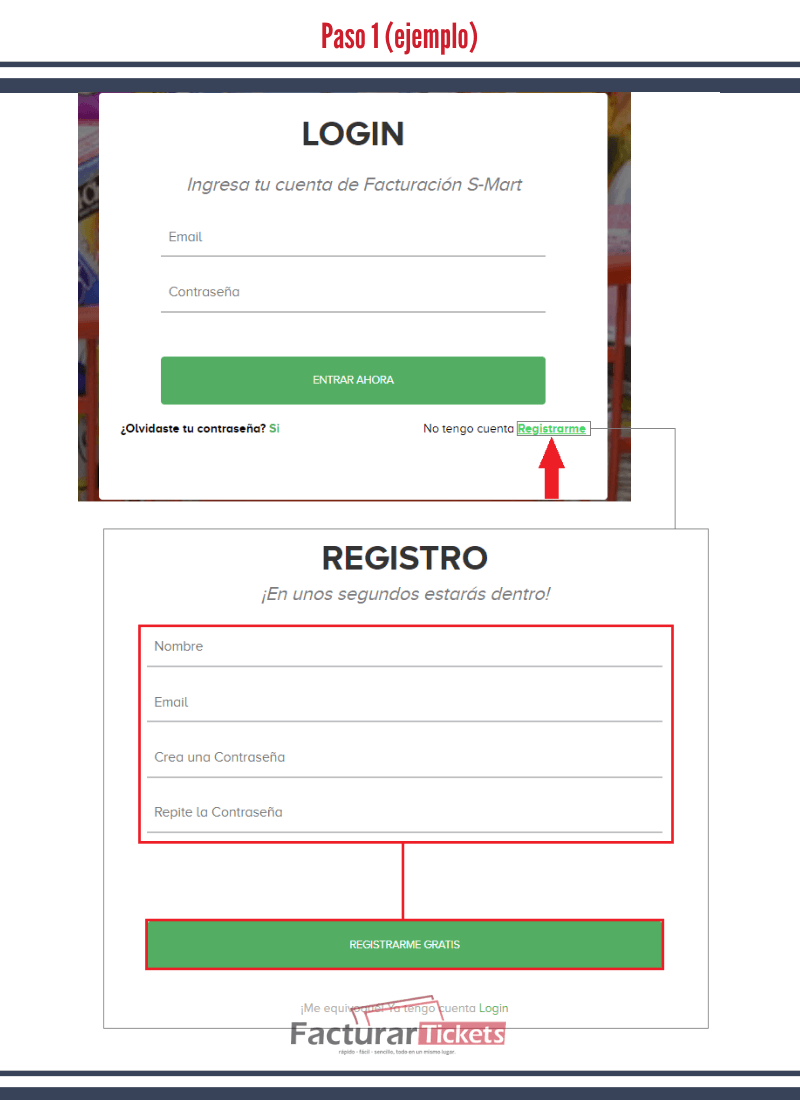 Paso 1 Registrar datos.