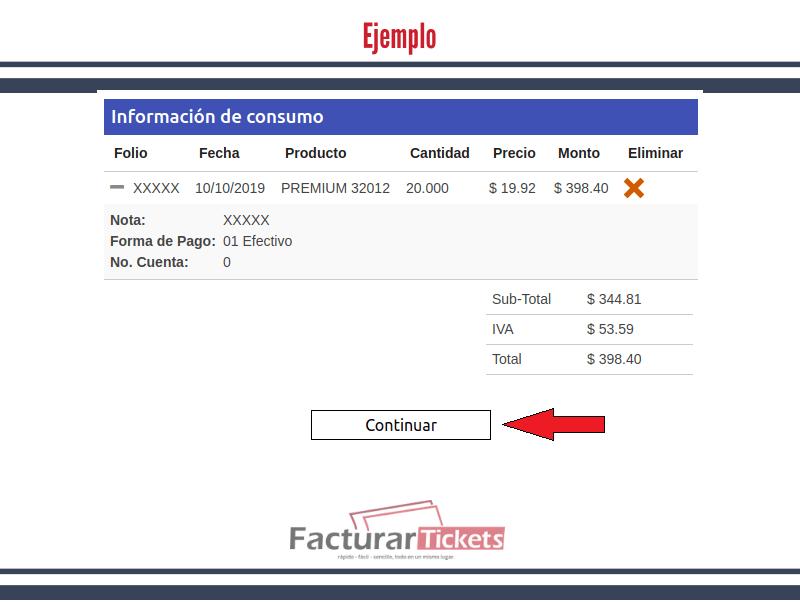 Ejemplo: Información de consumo.