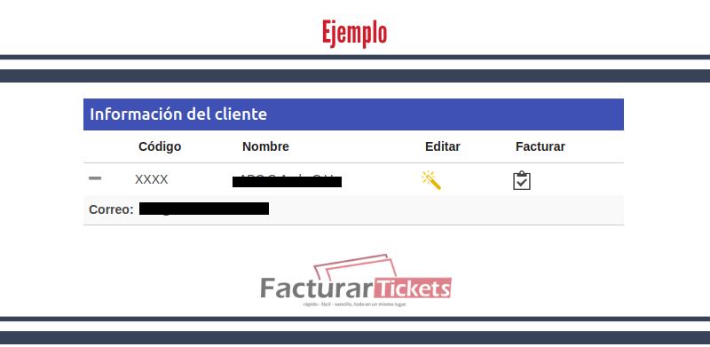 Ejemplo información del cliente.