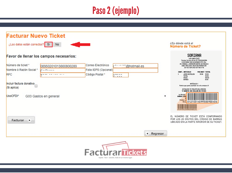 Paso 2 Confirmar datos de factura.