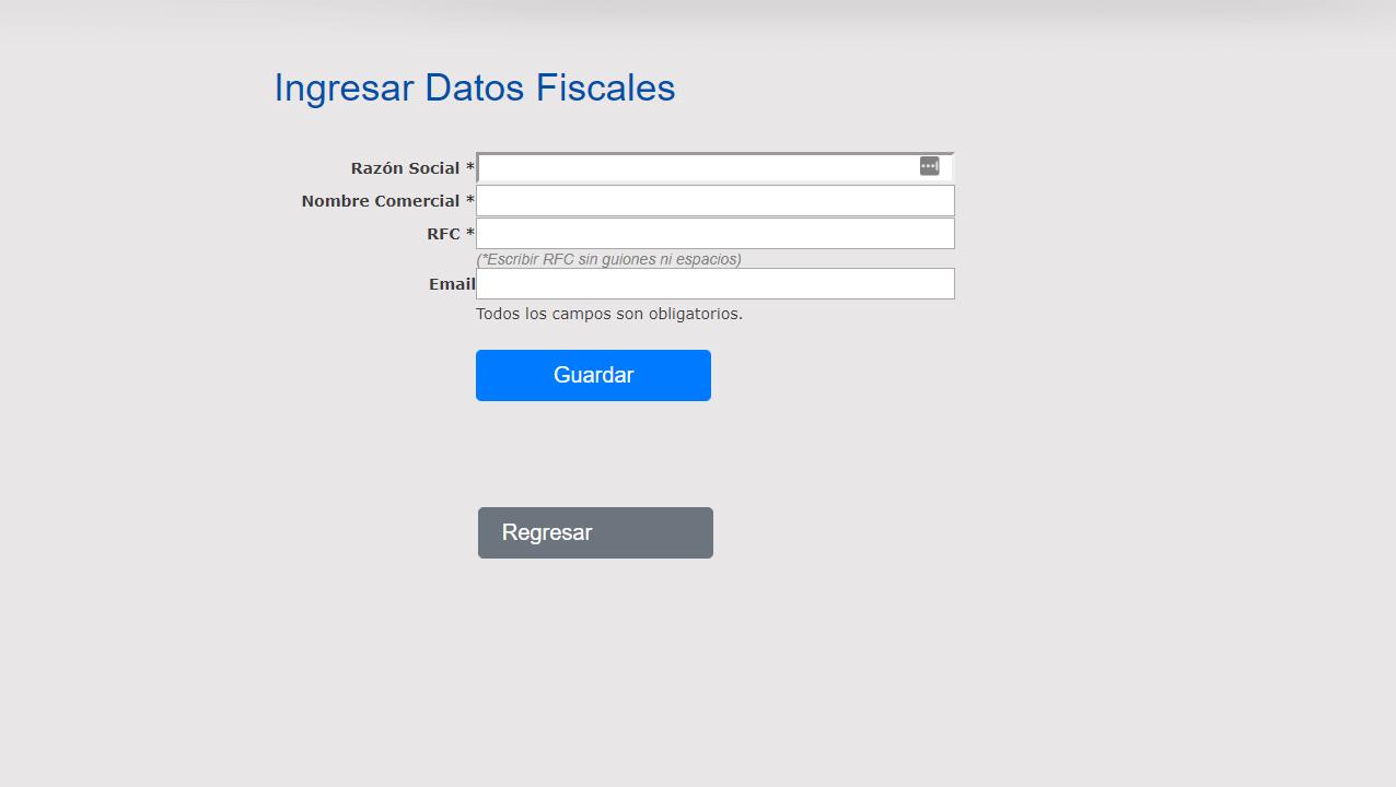 Registrar datos fiscales en Enerser